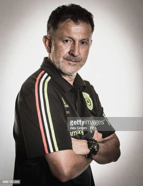 Head coach Juan Carlos Osorio poses for a picture during the Mexico team portrait session on June 14 2017 in Kazan Russia