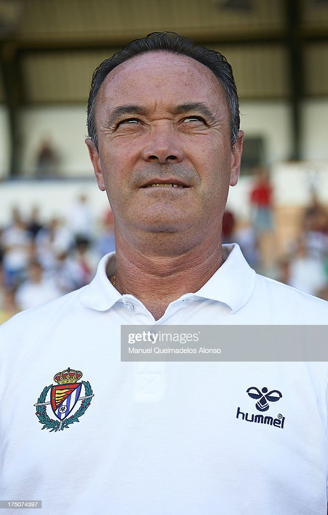 Head Coach Juan Ignacio Martinez of Valladolid looks on before a friendly match between Abacete and Real Valladolid at Estadio Carlos Belmonte on July 30, 2013 in Albacete, Spain.