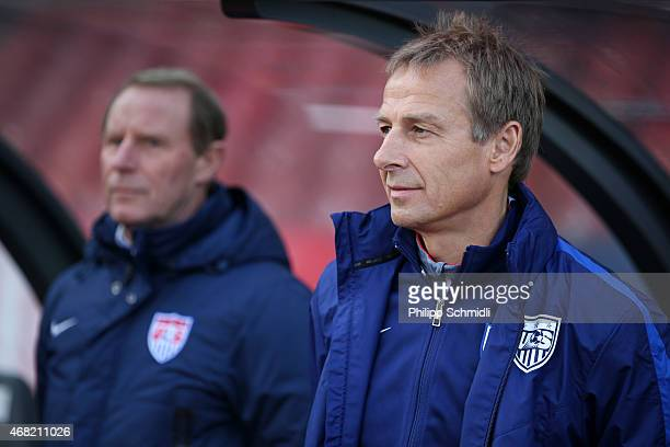 Head coach Juergen Klinsmann and technical adviser Berti Vogts prior to the international friendly match between Switzerland and the United States at...