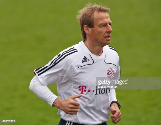 Head coach Juergen Klinsmann of Muenchen is pictured running during a training session on April 26 2009 in Munich Germany