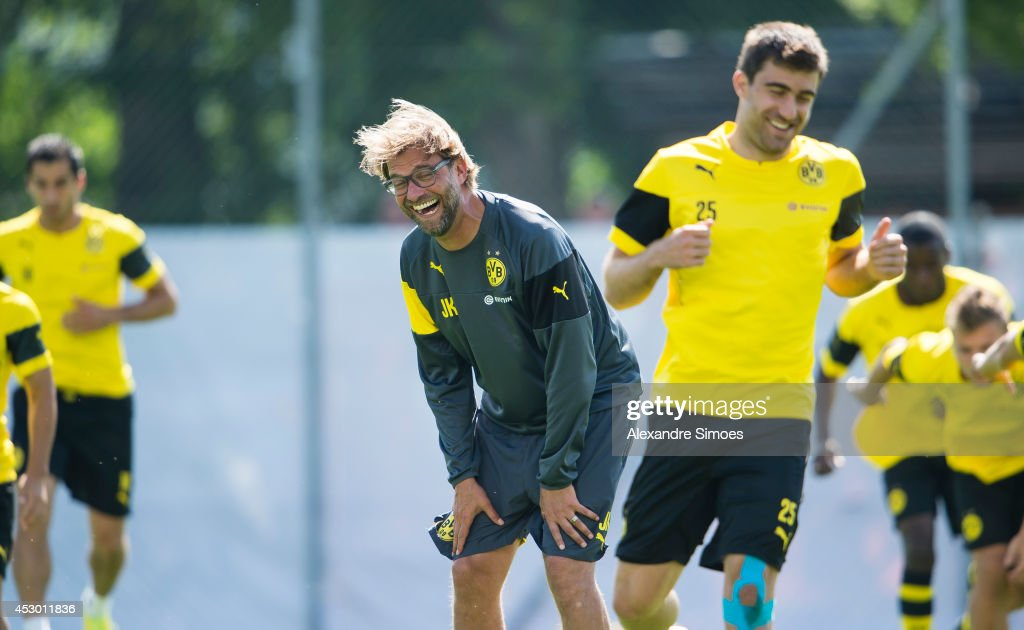 Head coach Juergen Klopp (BVB) and Sokratis Papastathopoulos (BVB) of Borussia Dortmund during a training session in the Borussia Dortmund training camp on July 31, 2014 in Bad Ragaz, Switzerland.