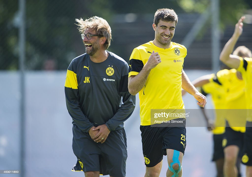 Head coach Juergen Klopp (BVB) and <a gi-track='captionPersonalityLinkClicked' href=/galleries/search?phrase=Sokratis+Papastathopoulos+-+Soccer+Player&family=editorial&specificpeople=4426771 ng-click='$event.stopPropagation()'>Sokratis Papastathopoulos</a> (BVB) of Borussia Dortmund during a training session in the Borussia Dortmund training camp on July 31, 2014 in Bad Ragaz, Switzerland.