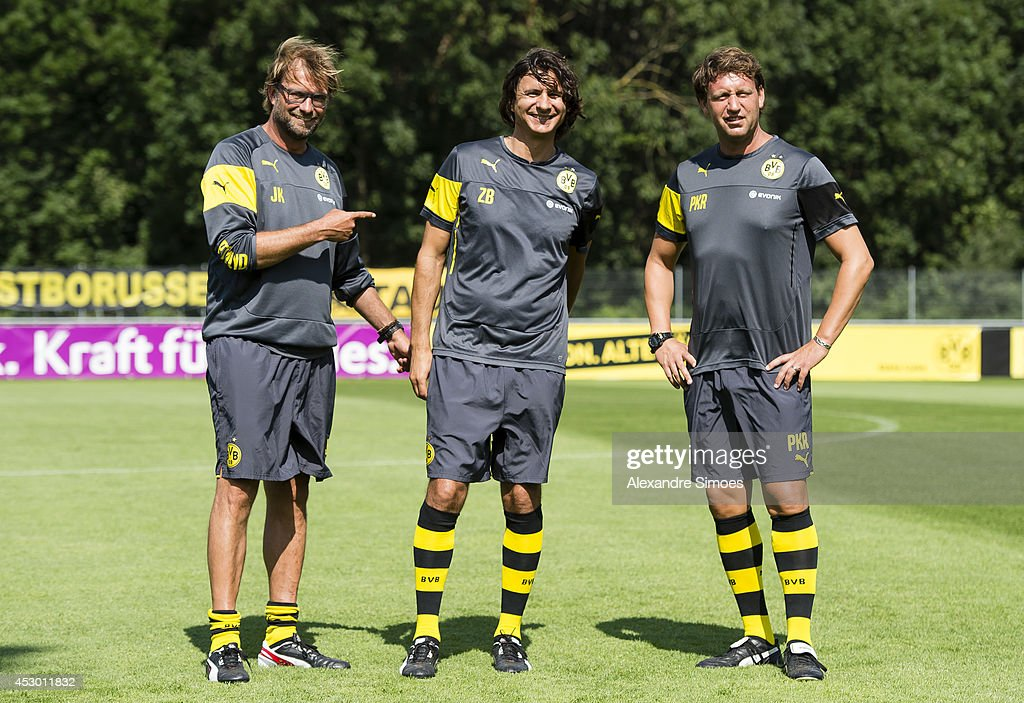Head coach Juergen Klopp (BVB) , assistant coach Zeljko Buvac (BVB) and assistant coach Peter Krawietz (BVB) of Borussia Dortmund during a training session in the Borussia Dortmund training camp on July 31, 2014 in Bad Ragaz, Switzerland.