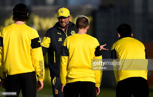 Head coach Juergen Klopp is seen during a Borussia Dortmund training session at training ground on March 17 2015 in Dortmund Germany