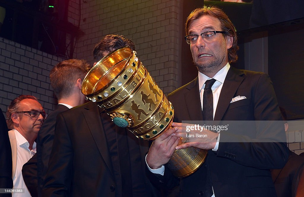 Head coach Juergen Klopp is seen with the cup during the Borussia Dortmund party at the Ewerk on May 13, 2012 in Berlin, Germany.