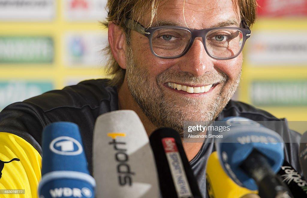 Head coach Juergen Klopp (BVB) of Borussia Dortmund attends a press conference on August 1, 2014 in Bad Ragaz, Switzerland.