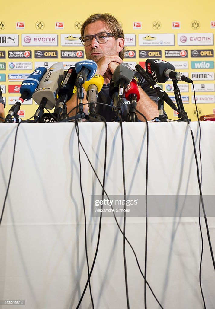 Head coach Juergen Klopp (BVB) of Borussia Dortmund attends a press conference on August 1, 2014 in Bad Ragaz, Switzerland.