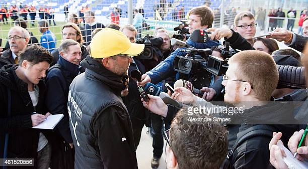 Head coach Juergen Klopp of Borussia Dortmund during interviews after a friendly match against FC Sion at Borussia Dortmund training ground on...