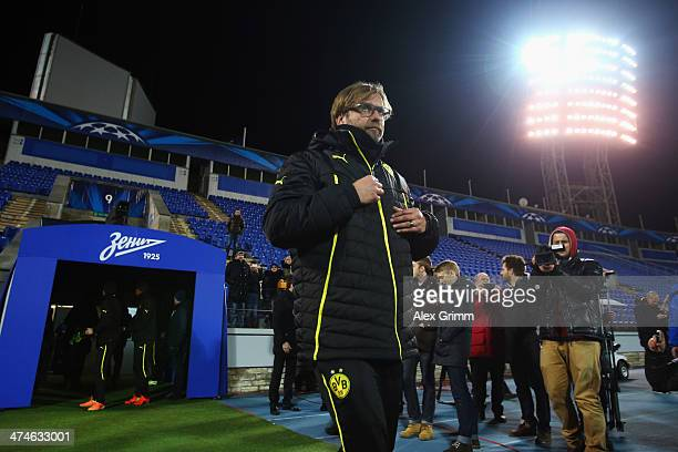 Head coach Juergen Klopp of Dortmund arrives for a training session ahead of the UEFA Champions League Round of 16 first leg match between FC Zenit...