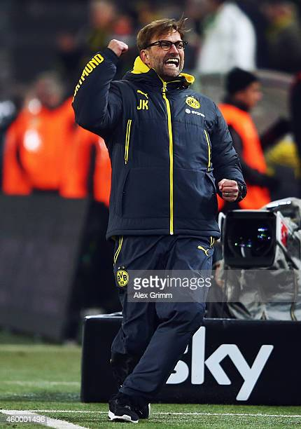 Head coach Juergen Klopp of Dortmund celebrates after the Bundesliga match between Borussia Dortmund and 1899 Hoffenheim at Signal Iduna Park on...
