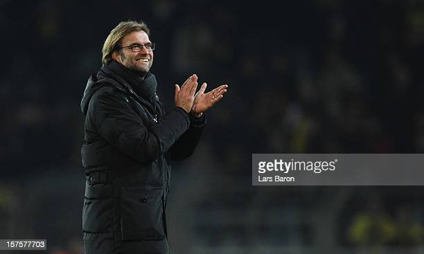 Head coach Juergen Klopp of Dortmund celebrates after winning the UEFA Champions League group D match between Borussia Dortmund and Manchester City...