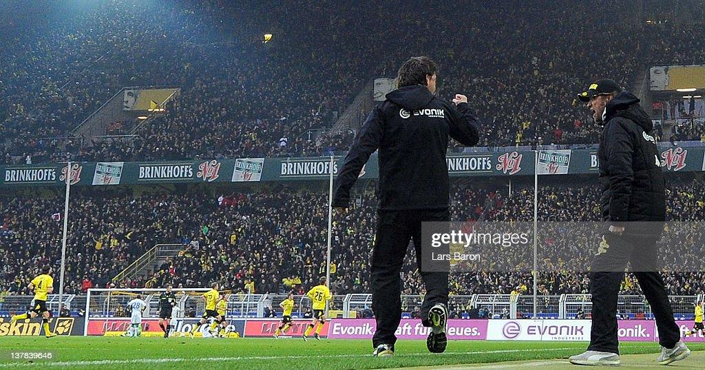 Head coach Juergen Klopp of Dortmund celebrates during the Bundesliga match between Borussia Dortmund and 1899 Hoffenheim at Signal Iduna Park on January 28, 2012 in Dortmund, Germany.