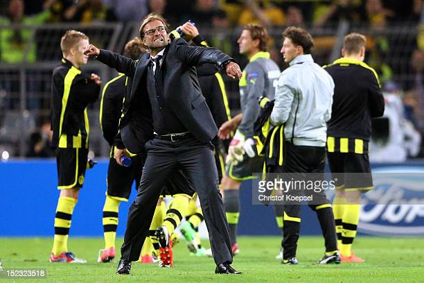 Head coach Juergen Klopp of Dortmund celebrates the 10 victory after the UEFA Champions League group D match between Borussia Dortmund and Ajax...