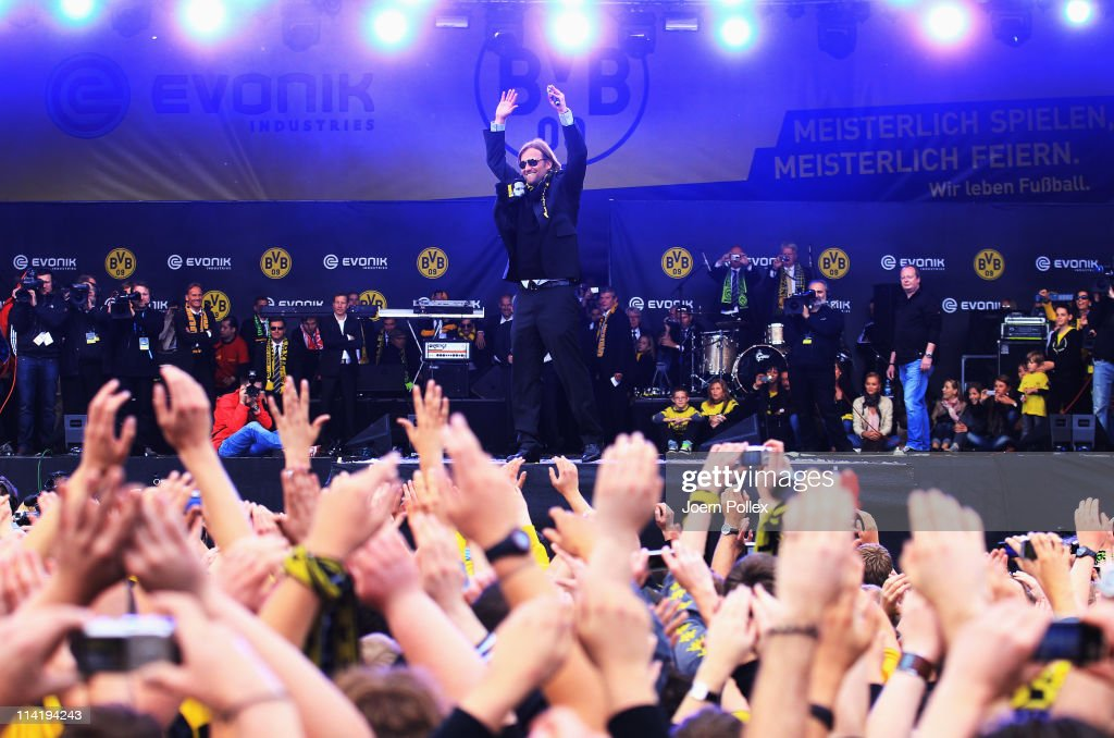 Head coach Juergen Klopp of Dortmund celebrates with the fans winning the German Championship at the Westfalenhalle on May 15, 2011 in Dortmund, Germany.