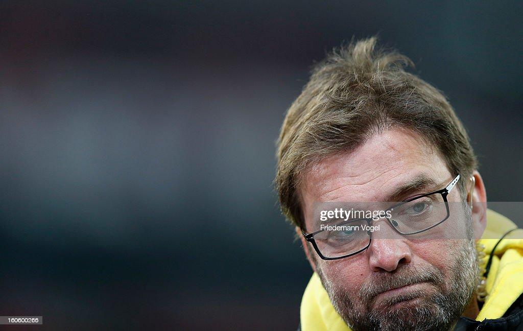 Head coach Juergen Klopp of Dortmund looks on during the Bundesliga match between Bayer 04 Leverkusen and Borussia Dortmund at BayArena on February 3, 2013 in Leverkusen, Germany.