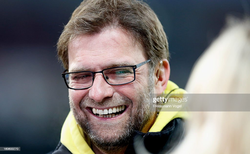 Head coach Juergen Klopp of Dortmund looks on during the Bundesliga match between Bayer 04 Leverkusen and Borussia Dortmund at BayArena on February 3, 2013 in Leverkusen, Germany.