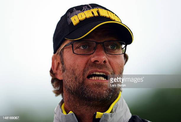 Head coach Juergen Klopp of Dortmund looks on prior to a friendly match between SV Meppen and Borussia Dortmund at MEPArena on July 11 2012 in Meppen...