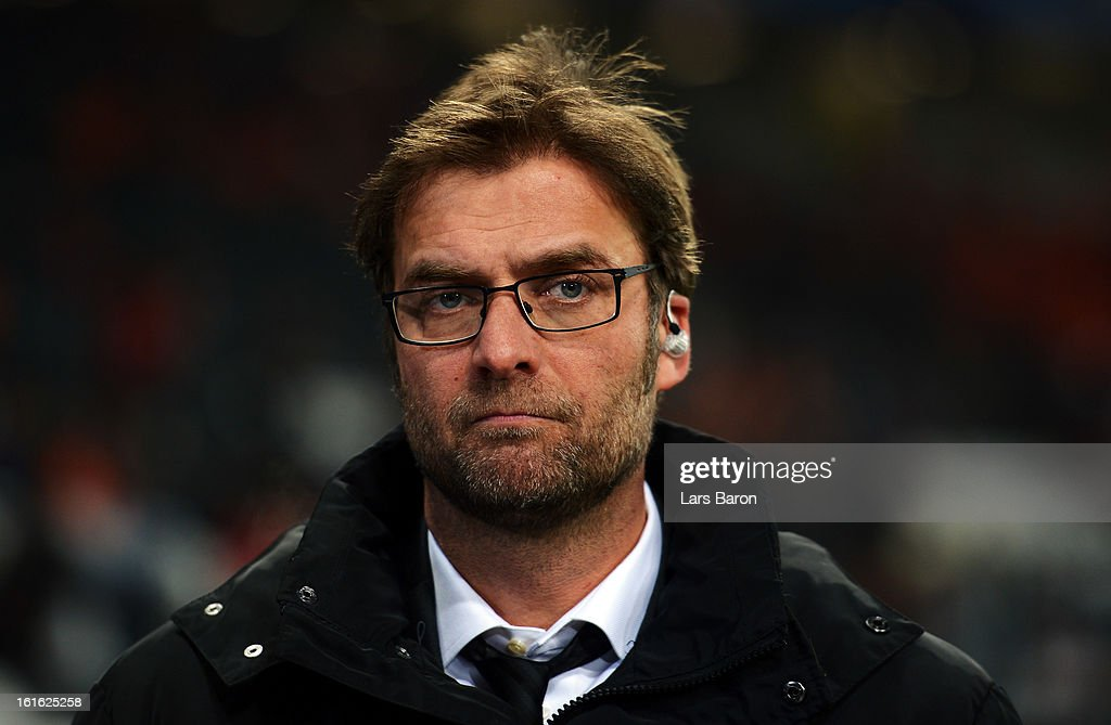 Head coach Juergen Klopp of Dortmund looks on prior to the UEFA Champions League Round of 16 first leg match between Shakhtar Donetsk and Borussia Dortmund at Donbass Arena on February 13, 2013 in Donetsk, Ukraine.