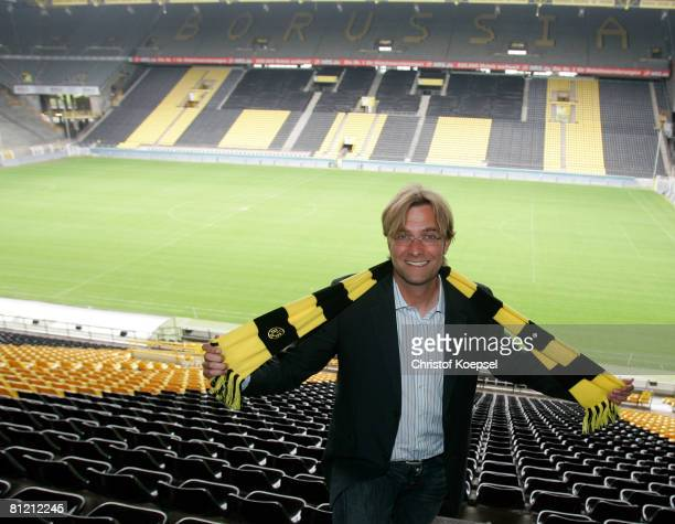 Head coach Juergen Klopp of Dortmund poses after the presentation of the new head coach at the Signal Iduna Park on May 23 2008 in Dortmund Germany