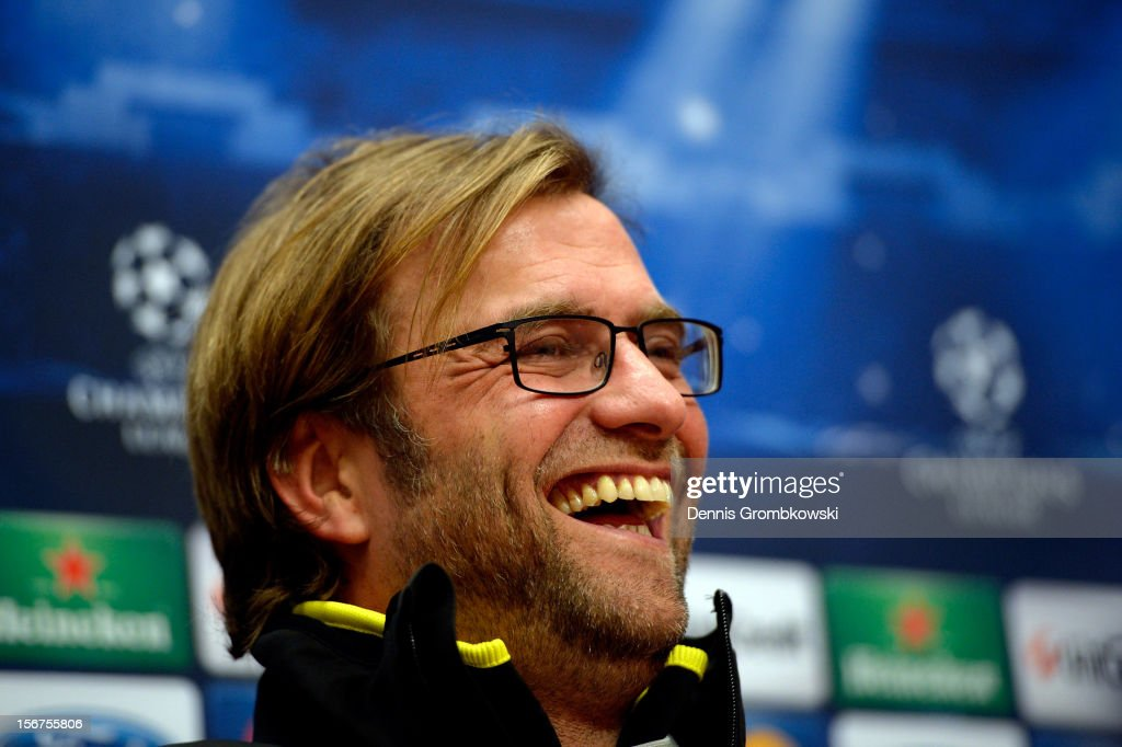 Head coach Juergen Klopp of Dortmund reacts during a press conference ahead of the UEFA Champions League match against Ajax Amsterdam on November 20, 2012 in Amsterdam, Netherlands.