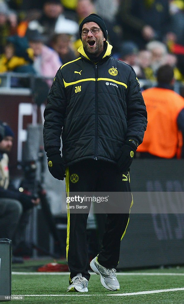Head coach Juergen Klopp of Dortmund reacts during the Bundesliga match between Borussia Dortmund and Hamburger SV at Signal Iduna Park on February 9, 2013 in Dortmund, Germany.