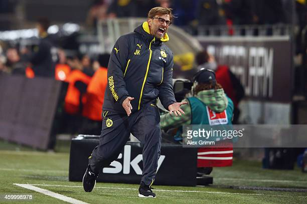 Head coach Juergen Klopp of Dortmund reacts during the Bundesliga match between Borussia Dortmund and 1899 Hoffenheim at Signal Iduna Park on...