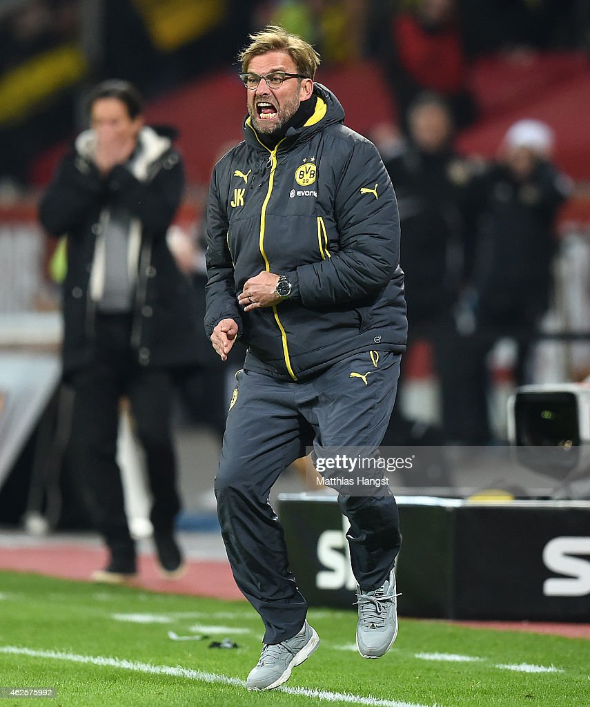 Head coach Juergen Klopp of Dortmund reacts during the Bundesliga match between Bayer 04 Leverkusen and Borussia Dortmund at BayArena on January 31, 2015 in Leverkusen, Germany.