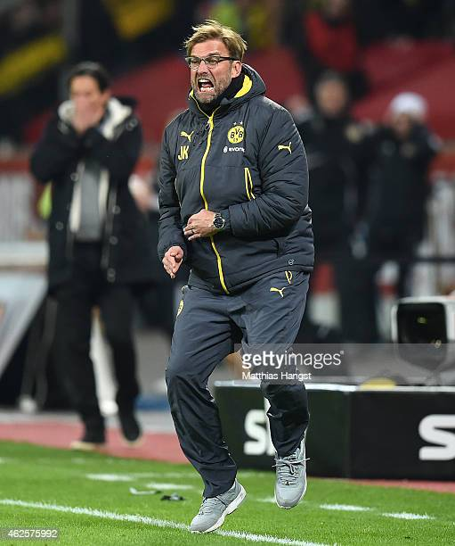 Head coach Juergen Klopp of Dortmund reacts during the Bundesliga match between Bayer 04 Leverkusen and Borussia Dortmund at BayArena on January 31...