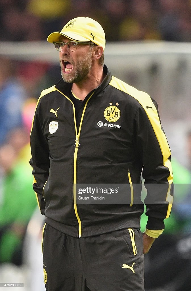 Head coach <a gi-track='captionPersonalityLinkClicked' href=/galleries/search?phrase=Juergen+Klopp&family=editorial&specificpeople=739056 ng-click='$event.stopPropagation()'>Juergen Klopp</a> of Dortmund reacts during the DFB Cup Final match between Borussia Dortmund and VfL Wolfsburg at Olympiastadion on May 30, 2015 in Berlin, Germany.