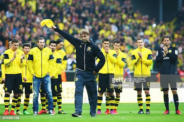 Head coach Juergen Klopp of Dortmund says farewell to the fans after the Bundesliga match between Borussia Dortmund and Werder Bremen at Signal Iduna...