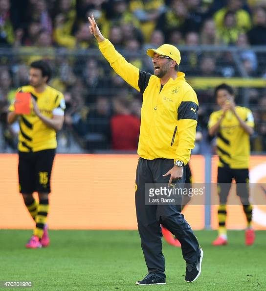 Head coach Juergen Klopp of Dortmund shows three fingers after the Bundesliga match between Borussia Dortmund and SC Paderborn at Signal Iduna Park...