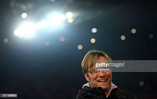 Head coach Juergen Klopp of Dortmund smiles prior to the Bundesliga match between Borussia Dortmund and Borussia Moenchengladbach at Signal Iduna...