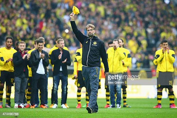 Head coach Juergen Klopp of Dortmund waves farewell to the fans after the Bundesliga match between Borussia Dortmund and Werder Bremen at Signal...