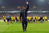 Head coach Juergen Klopp of Dortmund waves to the fans after the Bundesliga match between Borussia Dortmund and Werder Bremen at Signal Iduna Park on...