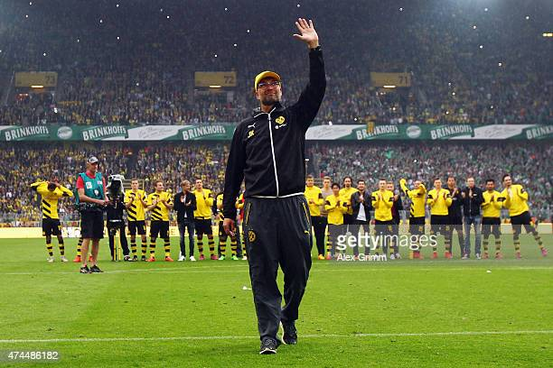 Head coach Juergen Klopp of Dortmund waves to the fans after the Bundesliga match between Borussia Dortmund and Werder Bremen at Signal Iduna Park on...