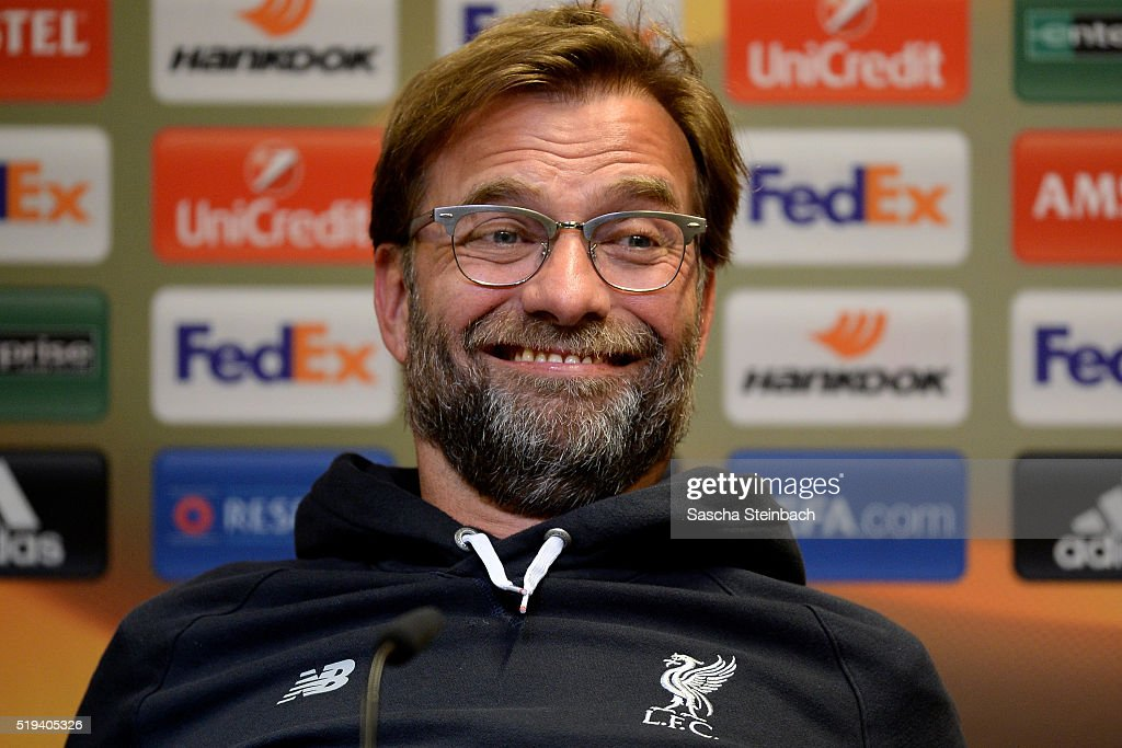 Head coach <a gi-track='captionPersonalityLinkClicked' href=/galleries/search?phrase=Juergen+Klopp&family=editorial&specificpeople=739056 ng-click='$event.stopPropagation()'>Juergen Klopp</a> reacts during the Liverpool FC press conference prior to the UEFA Europa League match between Borussia Dortmund and Liverpool FC at Signal Iduna Park on April 6, 2016 in Dortmund, Germany.