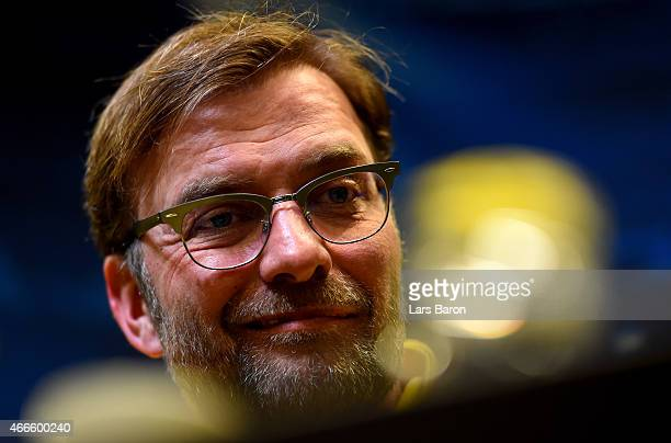 Head coach Juergen Klopp smiles during a Borussia Dortmund press conference at Signal Iduna Park on March 17 2015 in Dortmund Germany