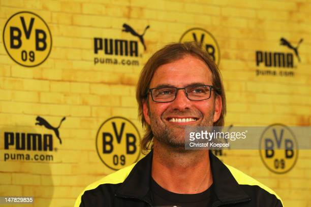 Head coach Juergen Klopp smiles during the Borussia Dortmund Puma kit launch at Westfaelischer Industrieklub on July 4 2012 in Dortmund Germany