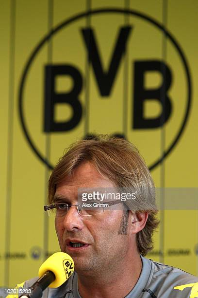 Head coach Juergen Klopp speaks during a press conference before the Borussia Dortmund first training session for the upcoming season 2010/2011 at...