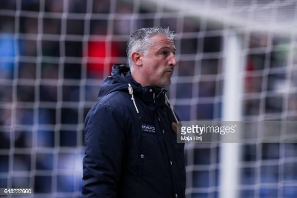 Head coach Juergen Kramny of Bielefeld reacts after the Second Bundesliga match between DSC Arminia Bielefeld and FC Erzgebirge Aue at Schueco Arena...