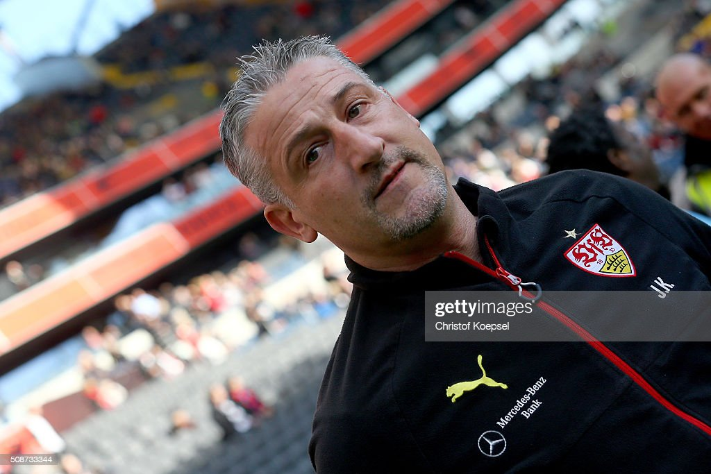 Head coach Juergen Kramny of Stuttgart looks on prior to the Bundesliga match between Eintracht Frankfurt and VfB Stuttgart at Commerzbank-Arena on February 6, 2016 in Frankfurt am Main, Germany.