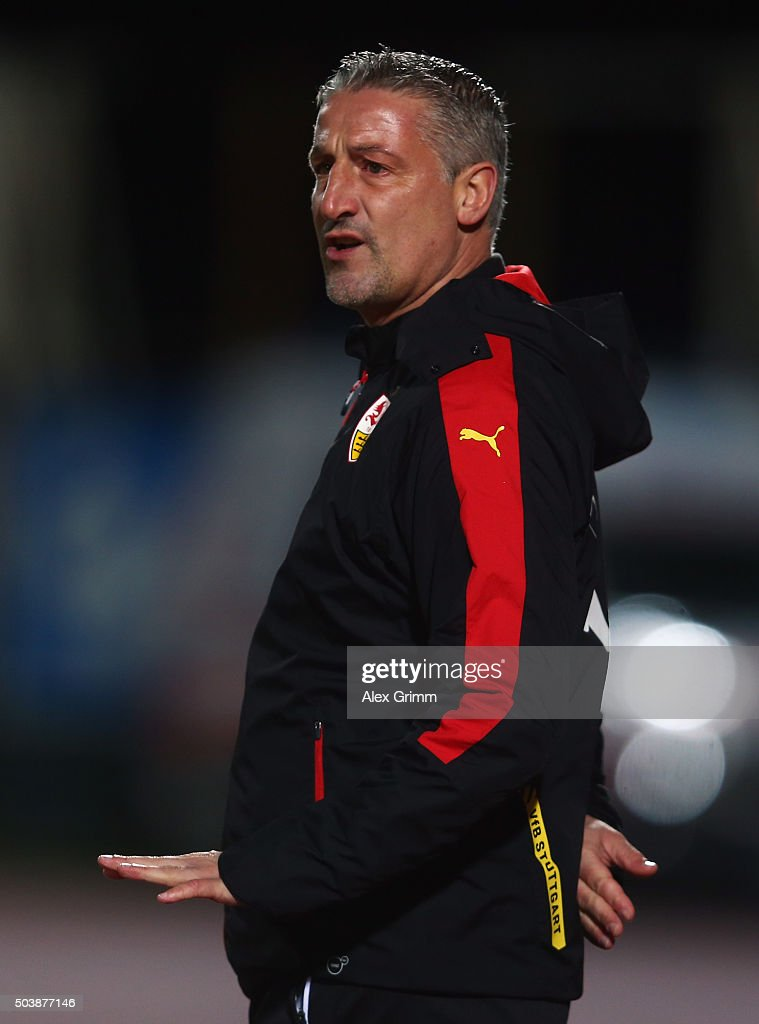 Head coach Juergen Kramny of Stuttgart reacts during a friendly match between VfB Stuttgart and Antalyaspor at Akdeniz Universitesi on January 7, 2016 in Antalya, Turkey.