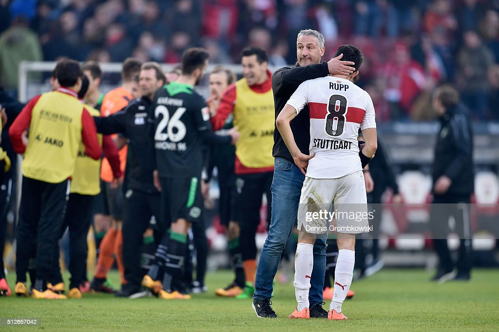 Head coach Juergen Kramny of VfB Stuttgart hugs Lukas Rupp after during the Bundesliga match between VfB Stuttgart and Hannover 96 at Mercedes-Benz Arena on February 27, 2016 in Stuttgart, Germany.