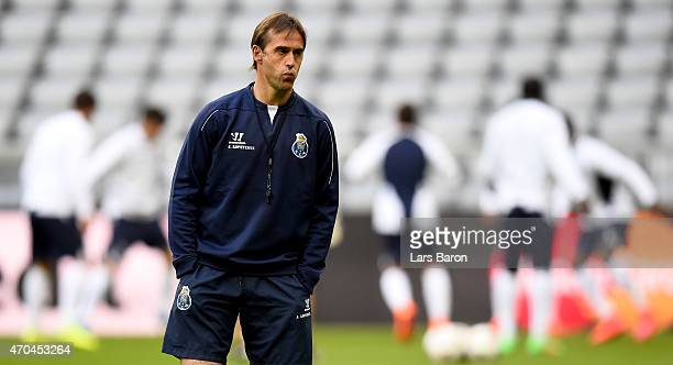 Head coach Julen Lopetegui is seen during a FC Porto training session prior to their UEFA Champions League Quarter Final second leg match at Allianz...