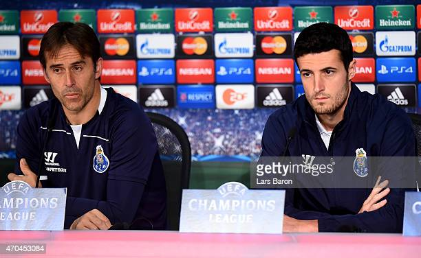 Head coach Julen Lopetegui looks on next to Ivan Marcano during a press conference prior to their UEFA Champions League Quarter Final second leg...