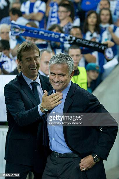 head coach Julen Lopetegui of FC Porto welcomes head coach Jose Mourinho of Chelsea FC during the UEFA Champions League Group G match between FC...