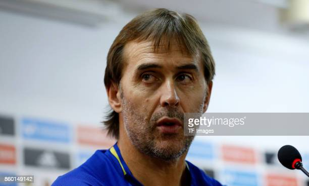 Head coach Julen Lopetegui of Spain attends a press conference on October 5 2017 in Alicante Spain