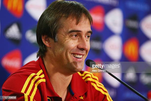 Head coach Julen Lopetegui of Spain attends a Spain U21 press conference at Teddy Stadium ahead of their UEFA European U21 Championship final match...
