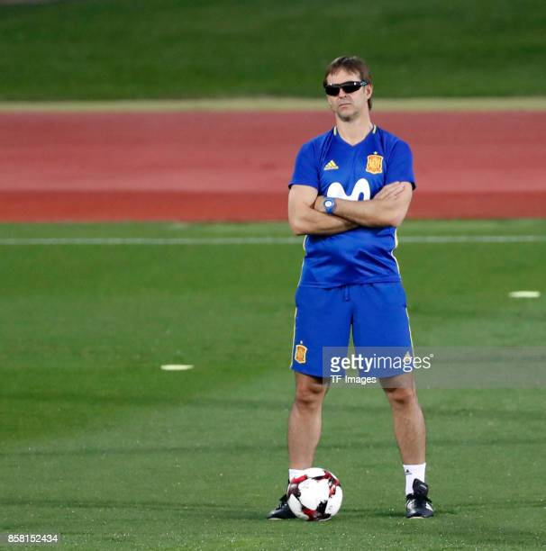 Head coach Julen Lopetegui of Spain attends a training session on October 2 2017 in Madrid Spain