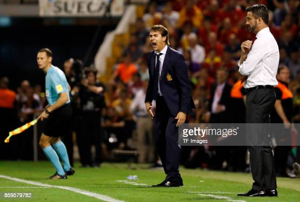 Head coach Julen Lopetegui of Spain gestures during the FIFA 2018 World Cup Qualifier between Spain and Albania at Rico Perez Stadium on October 6...